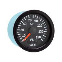Semi Truck Mechanical Air Pressure Gauge Vision Black