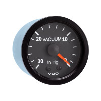 "Semi Truck 30"" Hg Mechanical Vacuum Gauge Vision Black"
