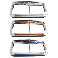 Dual Revolution Flatline Amber And Blue LED Rectangular Headlight Bezel