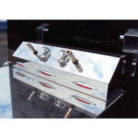 Stainless Steel Universal Trailer Service Box With 3 Slim Flatline Red LEDs With Red Lens