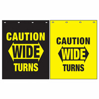 "Polyguard Caution ""Wide Turns"" 24"" x 30"" Mud Flap Black Yellow"