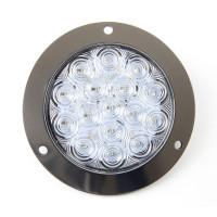 """16 LED 4"""" Round White Light Stainless Flange"""