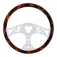 "18"" Flame Wood Lady Steering Wheel With Chrome Spokes"