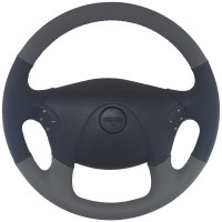 "Freightliner Cascadia 18"" Gray/Black Leather Steering Wheel"