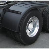 "Semi Truck 66"" Black Poly Half Fenders W/ Black Stainless Steel Mounting Kit"