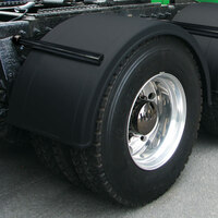 "Semi Truck 76"" Black Poly Fenders For Single Axle W/ Black Stainless Steel Mounting Kit"
