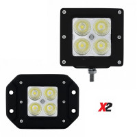 High Power 4 LED Square Flood Light X2 - Bracket and Flush Mount Shown