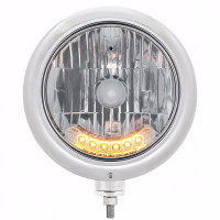 "7"" Classic Headlight with 6 Amber Auxiliary LED Front View"