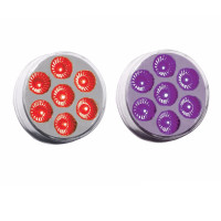 "2"" Round Dual Revolution Red & Purple LED Marker Light"