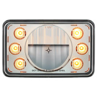 "6"" x 4"" Rectangular LED Crystal Headlight With 6 Dual Function Lit Amber LED Position Lights"