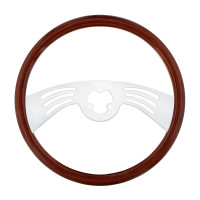 "18"" Classic Mahogany 2 Chrome Spoke Steering Wheel With Hub Included"