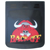 "24"" x 30"" Back Off Bull Mud Flaps With Black Background"