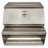 "30"" Diamond Plate Aluminum Saddle Tool Box With Step"