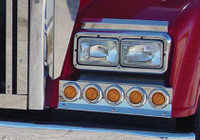 Freightliner Classic and XL Solid Mount Fender Guard w/ 10 Flat LED Lights By Roadworks