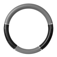 "18"" Black And Grey Steering Wheel Cover With Chrome Trim By Grand General"