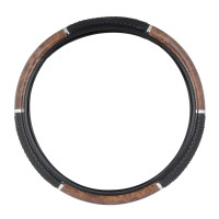 "18"" Black And Wood Steering Wheel Cover With Hand Grips By Grand General"