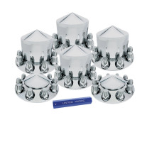 Complete Chrome Pointed Axle Cover Kit with Lug Nut Covers
