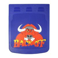 """24"""" x 30"""" Back Off Bull Mud Flaps With Blue Background"""