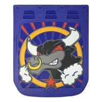 """24"""" x 30"""" Angry Bull Mud Flaps With Blue Background"""