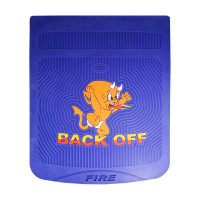 """24"""" x 30"""" Devil Back Off Mud Flaps With Blue Background"""