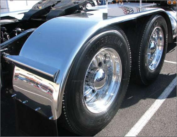 Stainless Steel Truck Fenders : Semi truck fenders quot tandem axle stainless steel with