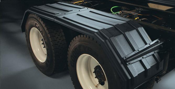 Poly Tandem Fender : Minimizer poly truck fenders tandem axle black square