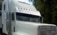 Freightliner FLD and Classic Condo Drop Visor Stainless Angle View