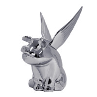 Chrome Pig With Wings Hood Ornament