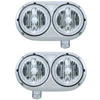 Peterbilt 359 Style Stainless Dual Round Headlight Crystal Halogen