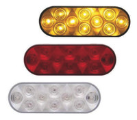 10 LED Oval STT And PTC Light Amber Red and Clear Amber