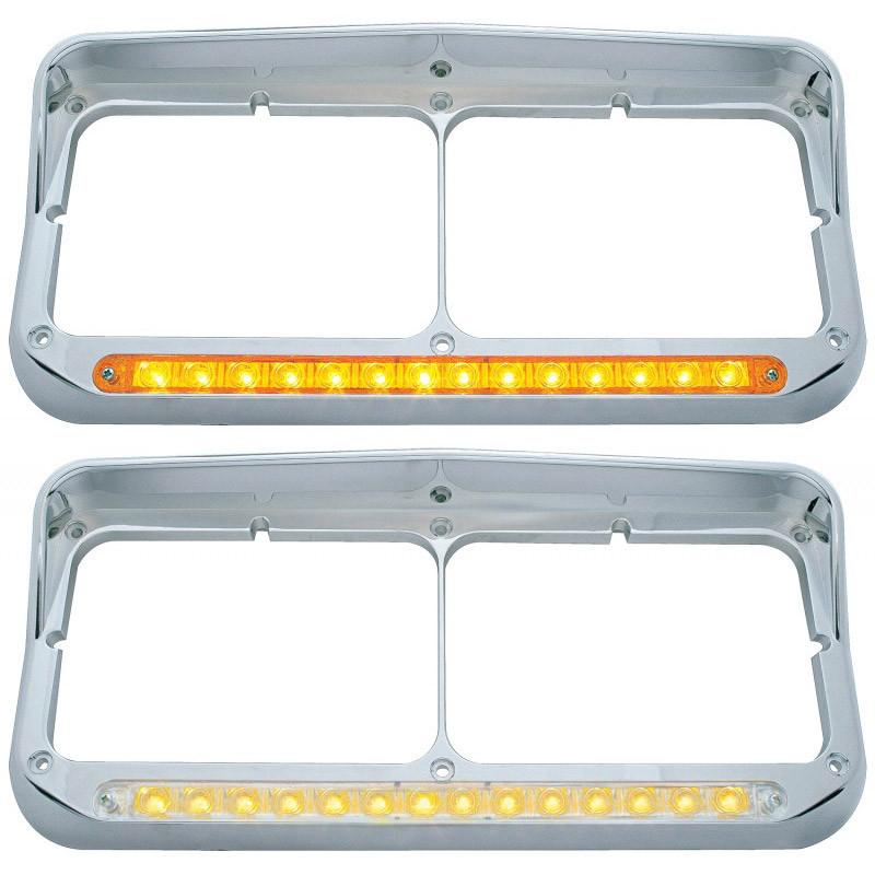 Rectangular Dual Headlight Bezel With Visor & Amber LED