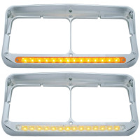 Rectangular Dual Headlight Bezel With Visor & Amber LED
