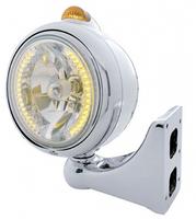 Chrome Guide Headlight H4 Bulb w/ Amber LED Driver & Passenger