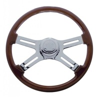 18Š— Mahogany 4 Chrome Spoke Steering Wheel