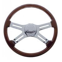 18Š— Mahogany 4 Chrome Spoke Steering Wheel
