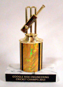 Shown With F290 Cricket Theme Figure, Gold Column, and Black Aluminum Engraving Plate With Gold Text