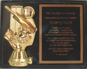 Shown on Wood Finish, T191 Cricket Holder Figure, and Black Aluminum Engraving Plate With Gold Text