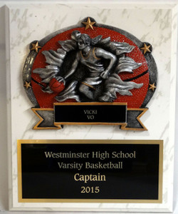 Shown on white marble finish with female basketball plaque mount, and black aluminum with gold text and trim