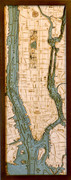 Manhattan Wood Nautical Chart