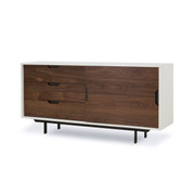 Wood and White Sliding Door Console