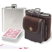 Hip Flask with Playing Cards