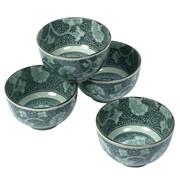 Antique Green Gingko Bowl Set
