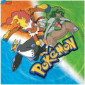Pokemon Large Lunch Dinner Napkins (pack of 16) - Green Orange Blue
