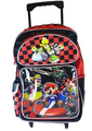 "Mario Brothers Large 16"" Rolling Backpack  - Red Black Checkers"