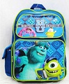 """Monsters University Mike and Sully Large 16"""" Cloth Backpack Book Bag Pack - Blue"""
