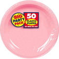 Amscan Big Party Pack 50 Count Plastic Dessert Plates, 7-Inch, New Pink