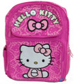 "Hello Kitty Large 16"" Cloth Backpack Book Bag Pack - Pink Faces"