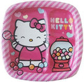 Hello Kitty Large 9 Inch Lunch Dinner Plates - Sweet