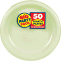 Amscan Big Party Pack 50 Count Plastic Dessert Plates, 7-Inch, Leaf Green