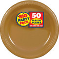 Amscan Big Party Pack 50 Count Plastic Dessert Plates, 7-Inch, Gold